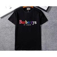 Burberry 2018 new embroidery letters men and women fashion wild short-sleeved T-shirt F-GQHY-DLSX Black