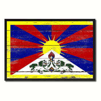Tibet Country National Flag Vintage Canvas Print with Picture Frame Home Decor Wall Art Collection Gift Ideas