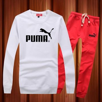 One-nice™ PUMA Woman Men Long Sleeve Shirt Top Tee Pants Trousers Set Two-Piece Sportswear