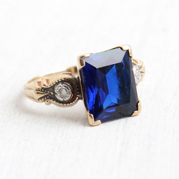 Vintage 9k Rosy Yellow Gold Blue Spinel & Rose Cut Diamond Ring - Antique Size 6 Art Deco 1930s Dark Sapphire Blue Fine Jewelry