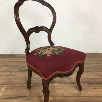 Victorian Style Vintage Carved Wood Side Chair