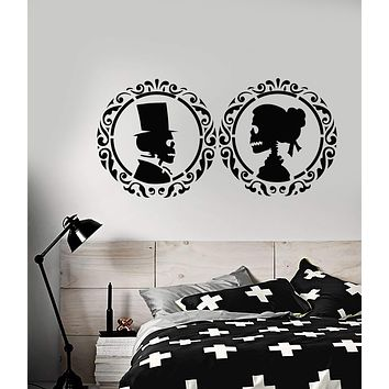 Vinyl Wall Decal Gentleman Lady Skull Man And Woman Bedroom Decor Stickers (3132ig)