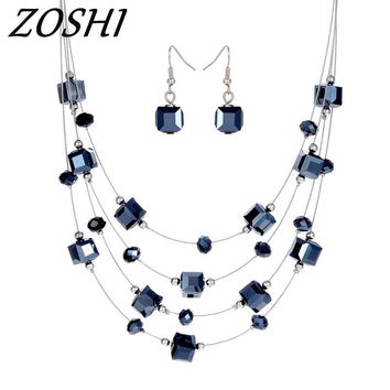 ZOSHI 2pcs Silver Color Multi-layer Necklace Earrings For Women Jewelry Set Women's Wedding Jewelry Sets Royal Blue Crystal Hot