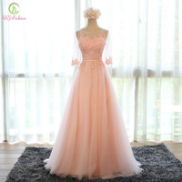 Evening Dress 2016 New Bride Banquet Sweet Pink Scoop Neck Half Sleeve Transparent Lace Embroidery A-line Long Prom Formal Dress