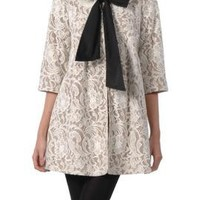 Letters from Paris Lace 3/4 sleeve Bow Center Coat in Ivory By Ryu Collection | Sincerely Sweet Boutique