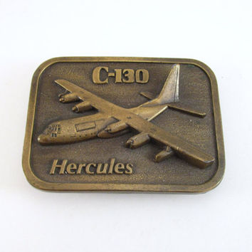 Vintage Hercules C-130 Belt Buckle, Buckle Connection, Brass Aircraft Buckle, Brass Airplane Belt Buckle, Men's Belt Buckle, Military Jet