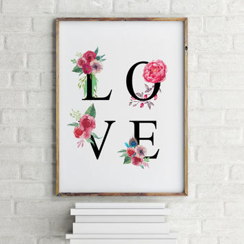 "Love poster ""LOVE"" Typogarphy quote Motivational quote Inspirational poster Gift idea Floral quote Love quote For her For couples Printable"