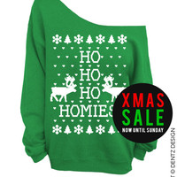 Ho Ho Ho Homies! - Ugly Christmas Sweater - Green Slouchy Oversized Sweatshirt