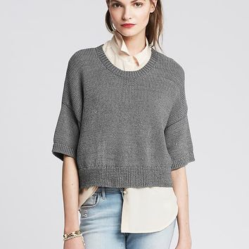Banana Republic Womens Monogram Cropped Drop Shoulder Pullover