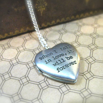 Jane Austen Necklace Sense and Sensibility  When I Fall in Love Locket
