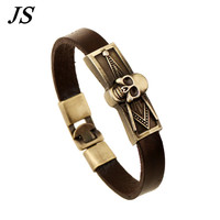 ER 2016 Charms Antique Freemasonry Masonic Symbols Bracelet Male Leather Skull Braclet Cheap Men Jewelry Accessories Gift LB080