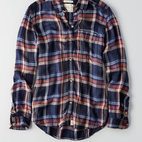 AEO Ahh-mazingly Soft Boyfriend Plaid Shirt , Navy