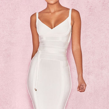 Clothing : Bandage Dresses : 'Belice' White Tie Waist Bandage Dress