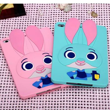 Cute Crazy animal City 3D Judi Rabbit Judy Cover For IPAD Mini 1 2 3 4 Soft Silicone Case For IPAD Mini 4 Cover Free shipping
