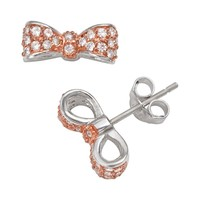 Sophie Miller 14k Rose Gold Over Silver & Sterling Silver Cubic Zirconia Bow Stud Earrings (White)