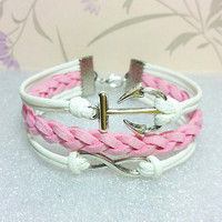 Infinity Bracelet-Anchor Bracelet, White Wax Cords and Pink braid bracelet.Girls Bracelet.