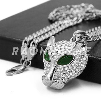 Stainless Steel Silver Iced Out Emerald Eyed Panther Pendant w/Cuban Chain