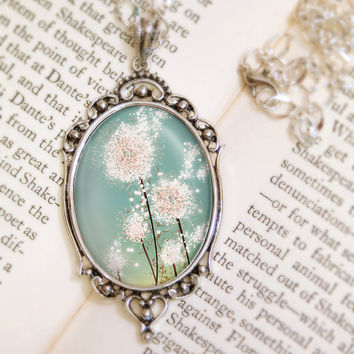 Dandelion Necklace Silver Pendant Perennial Moment by feverbloom