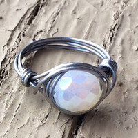Handmade Wire Wrapped Ring Stainless Steel Moonstone White Czech Glass Bead