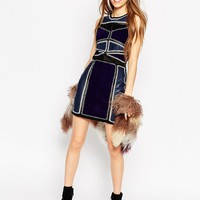 ASOS Bodycon Dress in Patchwork PU/Suedette and Crochet