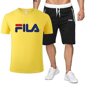 FILA Fashion New Letter Print Sports Leisure Top And Shorts Two Piece Suit Men Yellow