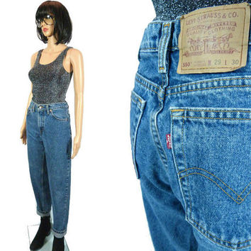 80s LEVI'S 550 Denim Levis Strauss Boyfriend Jeans Relaxed Fit Boho High 29 x 30 Waist Tapered Pants Distressed Washed Out Weathered Red Tab