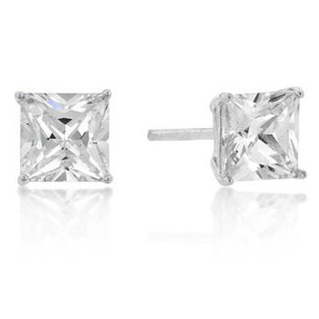 White Gold 6mm 1.5 (ct) Princess Cut Sterling Studs