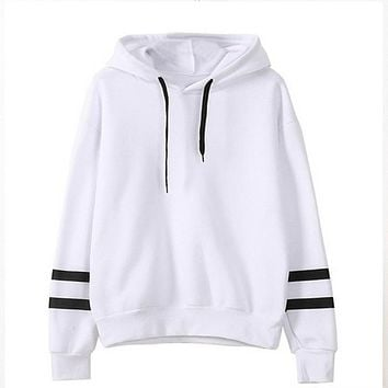 Harajuku Japanese Kawaii Hoodies Women Sweatshirts Sleeves Stripe Winter Plush Lovely Hooded Hoodies Sweatshirt sudaderas mujer