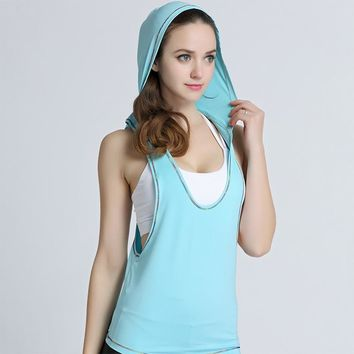 New Sleeveless Quick Dry Women Tank Tops Fitness Workout Sporting Tops Solid Loose Shirt Fitness Clothing for Women Hooded Vest