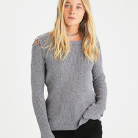 AEO Lace-Up Shoulder Sweater, Gray