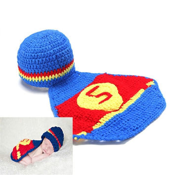2015 newborn baby high quality handmade cotton crochet knit costume photography prop baby twins gorras superman baby photo suit baby crochet clothing sets knitted caps hats шарф детский (Size: 1) = 1946340548