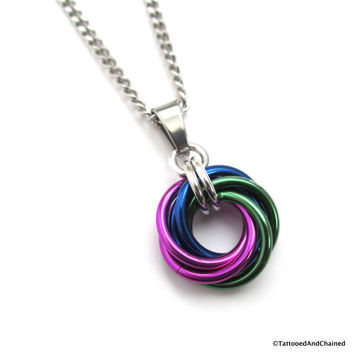 Green, blue, and violet pendant, chainmaille love knot