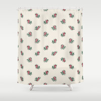 Pretty Pink Roses Girly Vintage Wallpaper Pattern Shower Curtain by Oh So Girly