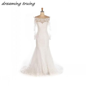 Charming Boho Wedding Dresses Bohemian Elegant Mermaid Sheer Long Sleeves Lace Bridal Gowns Court Train Off Shoulder