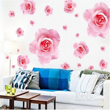 Big pink roses flowers vinyl wall stickers home decor DIY living room sofa 3D Design art decals House Decoration Wallpaper