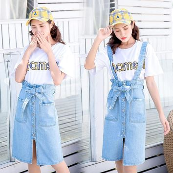 2018 summer Womens ladies A-line Pencil denim Skirt High Waist jeans harajuku pockets Skirt black white high quality