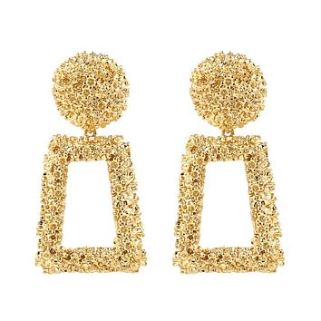 Gold Rectangle Statement Earrings