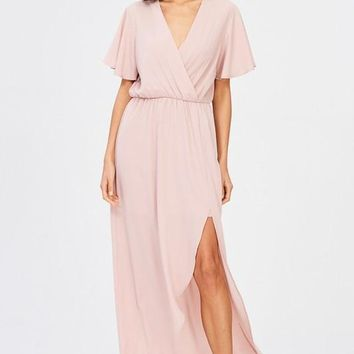 In Paris Drape Maxi Dress - Blush