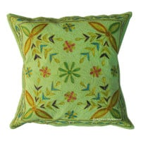 Indian Ari Zari Embroidered Decorative Floral Cotton Throw Pillow Case