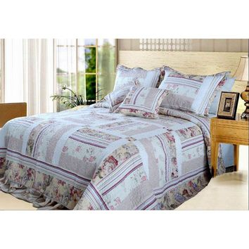 Classic Floral Blossoming Reversible Real Patchwork 100% Cotton Quilted Coverlet Bedspread Set (DXJ103112)