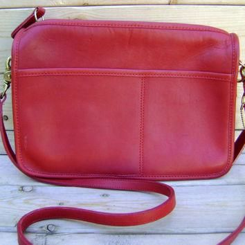 Red Coach Cross Body Purse Vintage 80s Leather Womens Handbag Made In New York Satchel