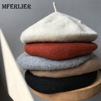 Mferlier Mori Girl Elegant Autumn Winter Baret Femme Solid Black Gray Beige Khaki Red Warm Chic Women Beret Hats