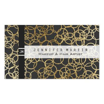Modern Gold Circles on Charcoal Black Business Card