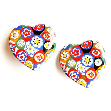 Vintage Ceramic Painted Heart Earrings - Patchwork Flower - Millefiori Style - Clip On - Paddle Back - Large Bold - Valentines Day