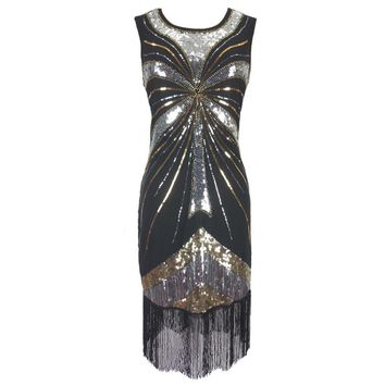 Roaring 1920s Great Gatsby Dress O-Neck Sleeveless Beaded Sequin Tassel Party Dress Classic Little Black Dress Flapper Costumes