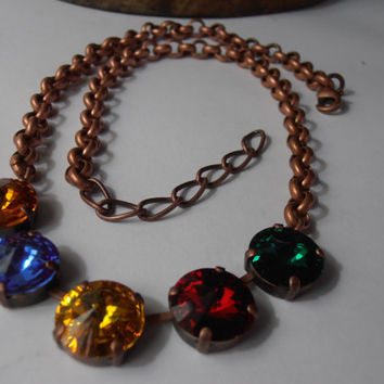 Multicolor Old Vintage style, Swarovski crystals, Antique copper setting, Anna wintour,Tennis, Thick Rolo chain necklace, Jewelry