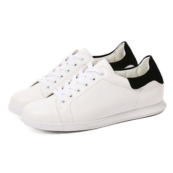 White And Black Lace Up Soled Sneakers