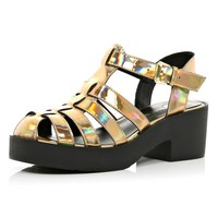 Gold holographic block heel gladiator sandals