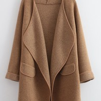 Khaki Turndown Collar Pocket Decorated Coat | Rosewe.com