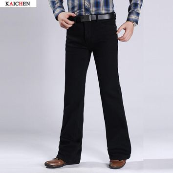 Free Shipping Male Plus Thick Velvet Bell Bottom Denim Trousers Slim Black Boot Cut Jeans Men's Clothing Casual Flares Trousers